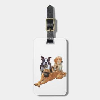 Pandilla del perro con el gato etiqueta para maletas