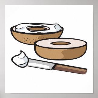 panecillo y queso cremoso póster