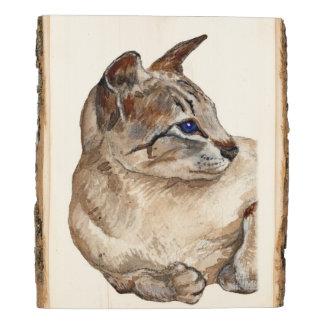 Panel De Madera gato que miente abajo soporte de madera rústico de
