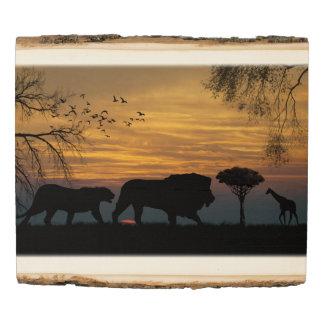 Panel De Madera Leones y jirafa en silueta