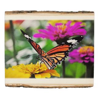Panel De Madera Mariposa en las flores #5