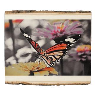 Panel De Madera Mariposa en las flores #6