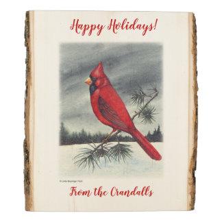 Panel De Madera Pájaro cardinal septentrional rojo