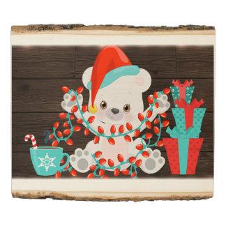 Panel De Madera Pequeño oso polar lindo con las luces de navidad