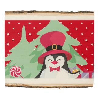 Panel De Madera Pingüino festivo con el trineo - rojo