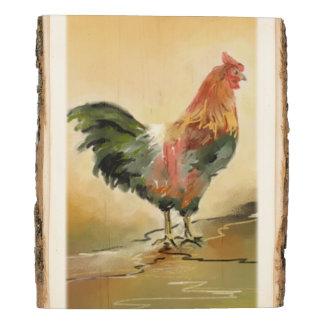 Panel De Madera Pintura rústica del gallo