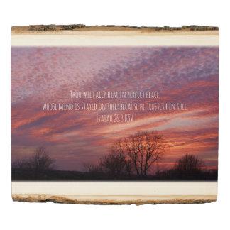 Panel De Madera Puesta del sol de Oklahoma con los árboles y verso
