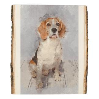Panel De Madera Retrato lindo de la acuarela del beagle