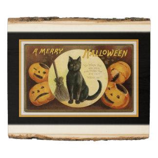 Panel De Madera Un feliz negro del gato negro y de las calabazas
