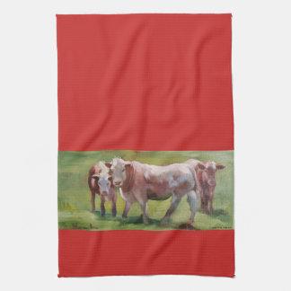Paño De Cocina 3 vacas en un paisaje