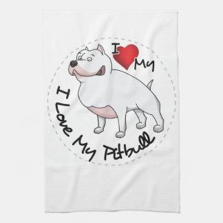 Paño De Cocina Amo mi perro de Pitbull