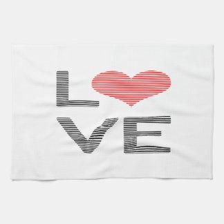 Paño De Cocina Amor - corazón - tiras - negro y rojo