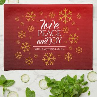 Paño De Cocina Amor, paz, y alegría rojos festivos con los copos