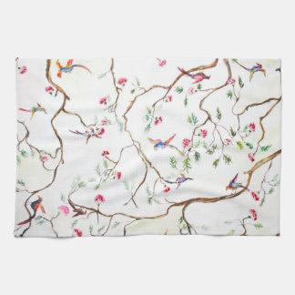 Paño De Cocina Antiguo, flores, pájaros, como papel pintado viejo