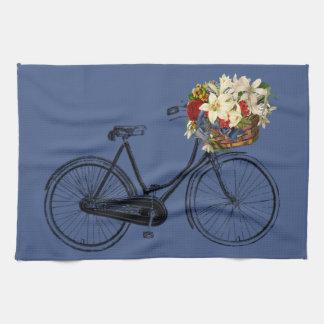 Paño De Cocina Azul de la bici de la flor de la bicicleta de la