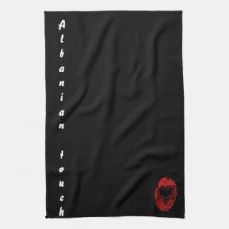 Paño De Cocina Bandera albanesa de la huella dactilar del tacto