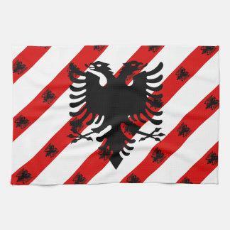 Paño De Cocina Bandera albanesa de las rayas