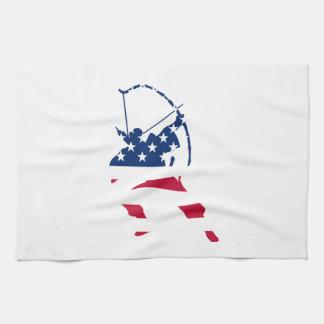 Paño De Cocina Bandera americana del archer del tiro al arco de