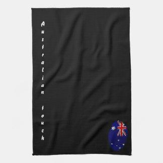Paño De Cocina Bandera australiana de la huella dactilar del