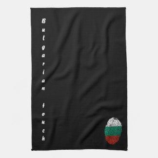 Paño De Cocina Bandera búlgara de la huella dactilar del tacto