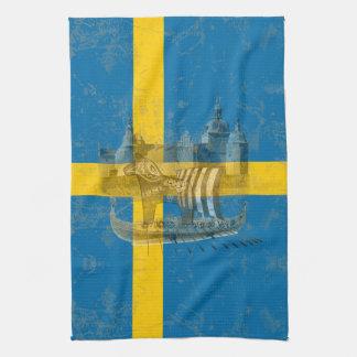 Paño De Cocina Bandera y símbolos de Suecia ID159