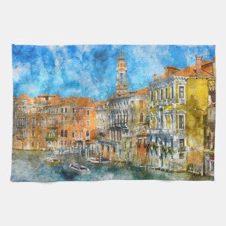 Paño De Cocina Barcos en el Gran Canal de Venecia Italia
