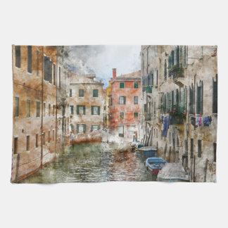 Paño De Cocina Barcos en los canales de Venecia Italia