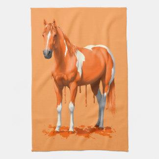 Paño De Cocina Caballo mojado de la pintura del goteo anaranjado