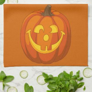Paño De Cocina Cara torpe feliz de la calabaza de Halloween de la
