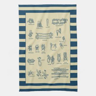 Paño De Cocina Carta del vintage de nudos náuticos con las rayas