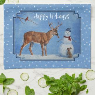 Paño De Cocina Copos de nieve del navidad de los ciervos y del