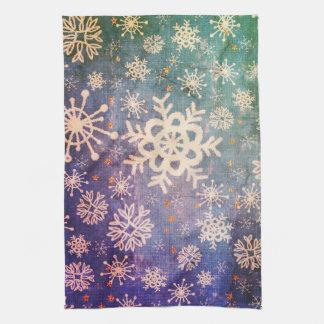 Paño De Cocina Copos de nieve en cocina azul del teñido anudado