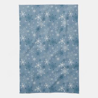 Paño De Cocina Copos de nieve en un fondo azul