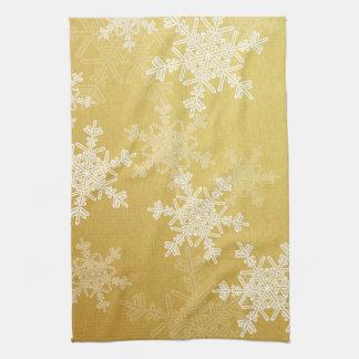 Paño De Cocina Copos de nieve femeninos del navidad de oro y