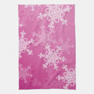 Paño De Cocina Copos de nieve femeninos del navidad rosado y