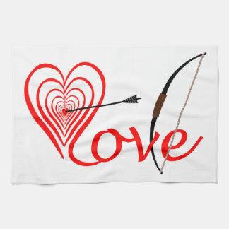 Paño De Cocina Corazón amor blanco con flecha y arco