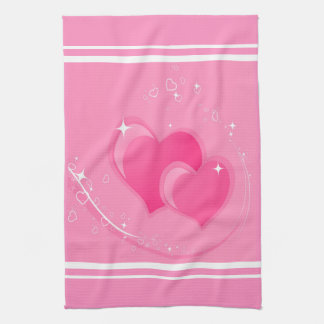 Paño De Cocina Corazones rosados dobles