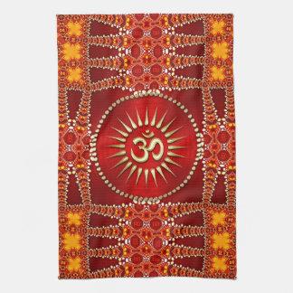 Paño De Cocina Decoración del este roja del hogar de la yoga de