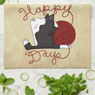 Paño De Cocina Días felices del gato del smoking