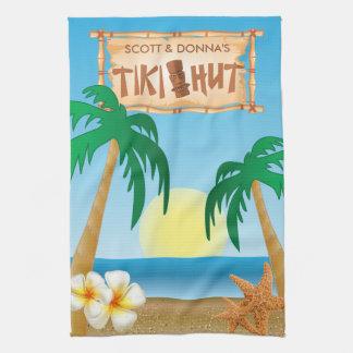 Paño De Cocina Diseño del verano de la choza de Tiki