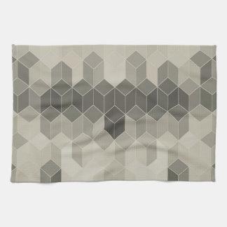 Paño De Cocina Diseño geométrico del cubo de la escala gris