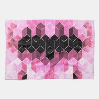 Paño De Cocina Diseño geométrico rosado y negro intenso