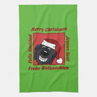 Paño De Cocina Doodle negro las navidades