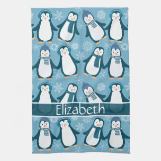 Paño De Cocina El diseño lindo de los pingüinos del invierno