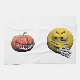 Paño De Cocina Emoticon amarillo o smiley de Halloween