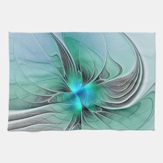 Paño De Cocina Extracto con arte azul, moderno del fractal