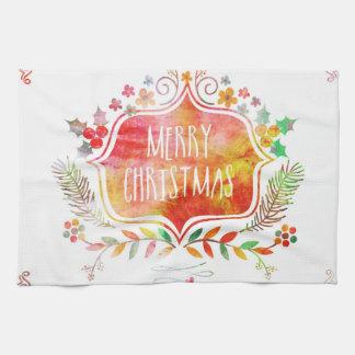 Paño De Cocina Felices Navidad retras de la acuarela