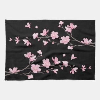 Paño De Cocina Flor de cerezo - negro
