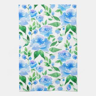 Paño De Cocina Flores del azul de la acuarela