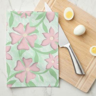 Paño De Cocina Flores rosadas de la primavera de la floración de